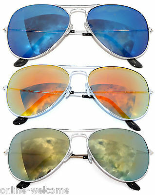 3 PAIRS SILVER FRAME AVIATOR STYLE BLUE RED YELLOW COLORED MIRROR LENS UV (Coloured Mirrored Aviators)