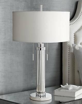 Modern Table Lamp Chrome Silver Glass Column White for Living Room -