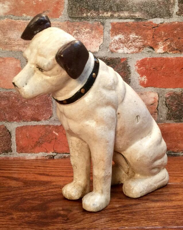 "Cast Iron 10"" Tall Nipper Dog Vintage Coin Bank"