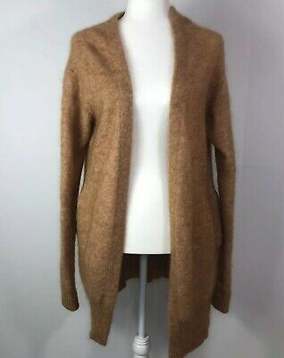 $410 ACNE STUDIOS Raya Short Mohair Blend Cardigan Sweater Sz S Beige Camel Tan