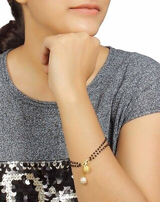 422 Indian Bridal Jewelry Necklace Gold Plated Mangalsutra Black Beads