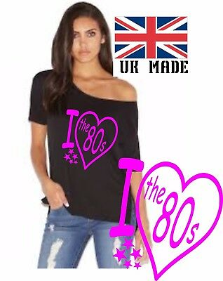 I Love The 1980`S. Slash Neck hen party off the shoulder t shirt  size xs to 5x