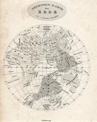 Antipoden - Card Original Steel Engraving Map Bibl. Inst. 1835