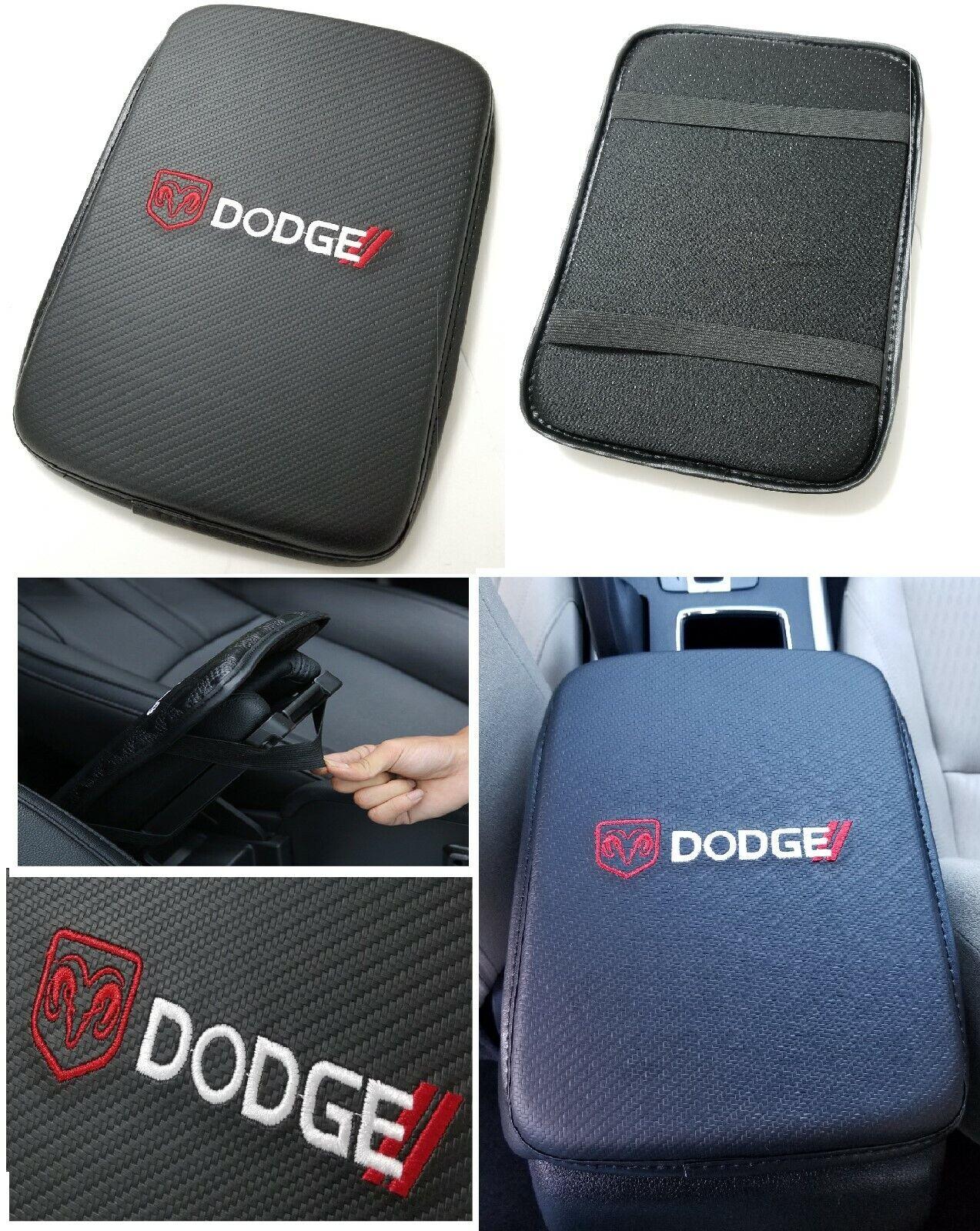 Car Parts - UNIVERSAL DODGE Carbon Fiber Car Center Console Armrest Cushion Pad Cover Mat