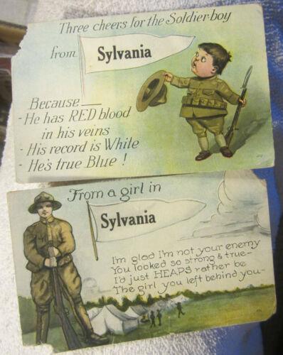 Vintage WW1 world war 1 postcards U.S Army Sylvania Ohio,lot of 2,,rifle,soldier