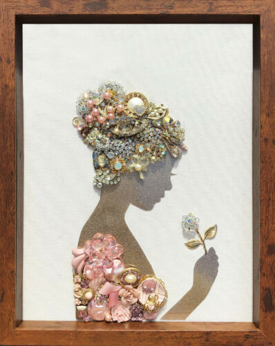Framed Vintage Jewelry Art Prom Girl Woman Silhouette 12x15