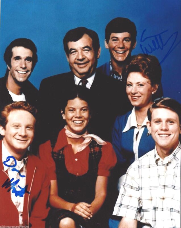 HAPPY DAYS CAST DON MOST ANSON WILLIAMS DUAL SIGNED 8X10 PHOTO A W/COA TV SHOW