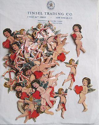 "Lot Vintage/Antique Cupid W/Heart Diecut  Paper Scrap Valentines ""Imperfect""!!"