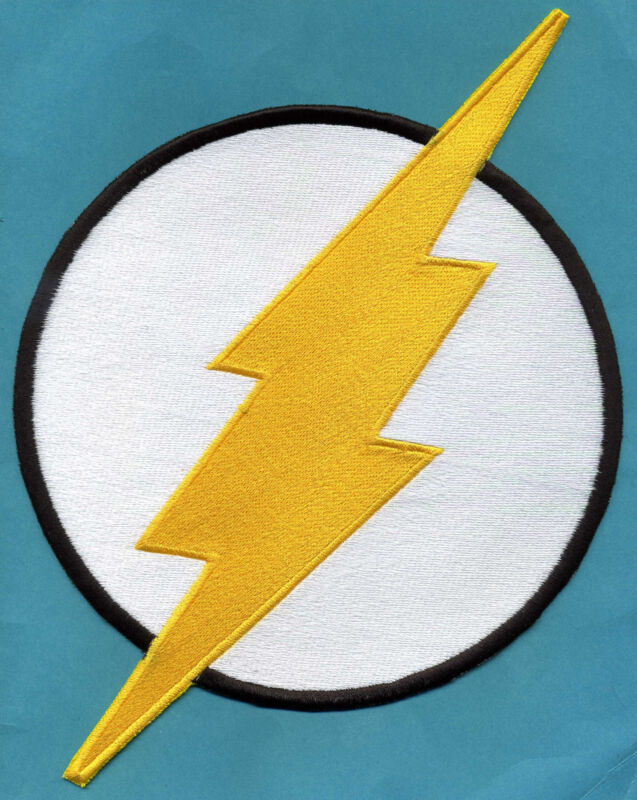 """THE FLASH  8""""x12"""" X-Large Fully Embroidered White & Yellow Chest Insignia Patch"""