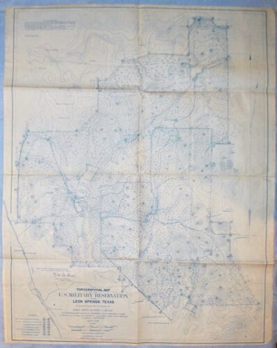 Pre WWI Map of U.S. Military Reservation Near Leon Springs, Texas