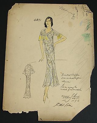 1920's Ethel Rabin Vintage Fashion Design Original Print. Great Gatsby Style! #2