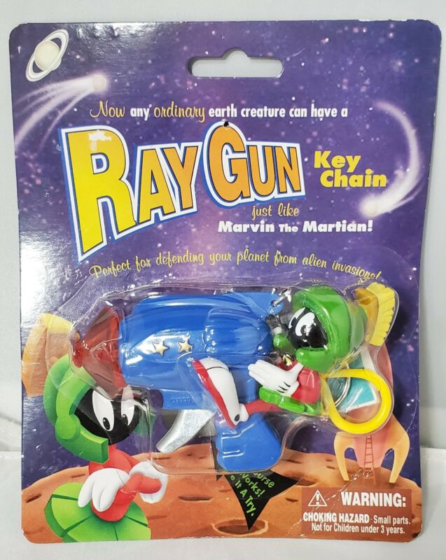 1999 MARVIN THE MARTIAN RAY GUN KEYCHAIN NEW- WORKING OFFICIAL WARNER BROTHERS