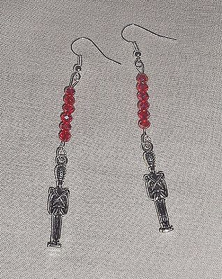 Christmas Holiday NUTCRACKER Soldier & Red Crystals Long Dangle Earrings  3""