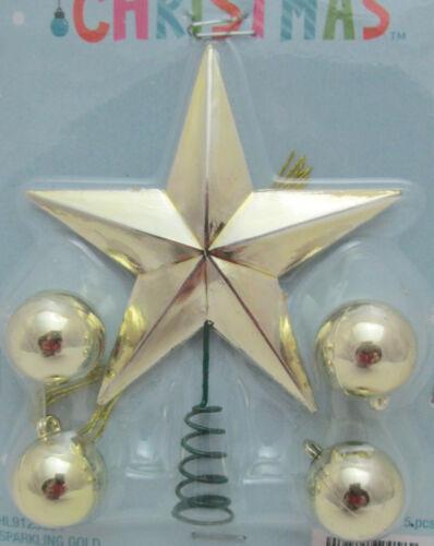 Miniature Plastic Star Tree Topper & 4 Ball Christmas Ornaments Gold Metallic