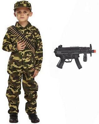 BOYS ARMY FANCY DRESS COSTUME SOLDIER OUTFIT UNIFORM - Army Fancy Dress