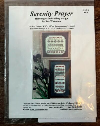 Nordic Needle SERENITY PRAYER Hardanger Embroidery Design by Roz Watnemo