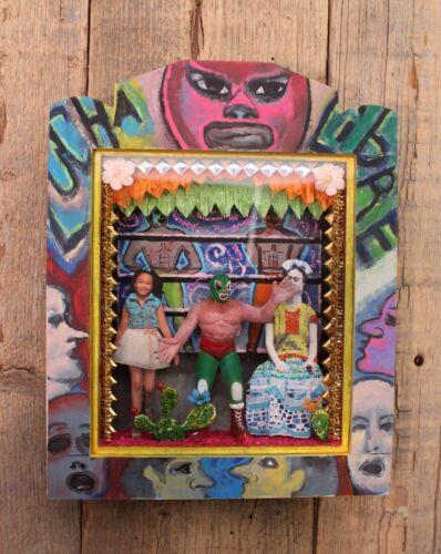 Lucha Libre & Frida Wrestler Wood Retablo Handmade Hand Painted Mexican Folk Art