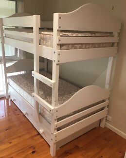 Bunkers Single White Solid Timber Bunk Beds with 3 large drawers