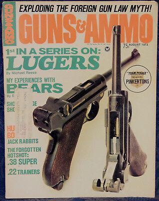 Magazine GUNS & AMMO August 1973 !!DWM Model 1900 Luger PISTOL!! **Case KNIVES**