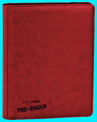 ULTRA PRO 9 POCKET PREMIUM LEATHERETTE RED BINDER STORAGE 360 Card 20 Pages
