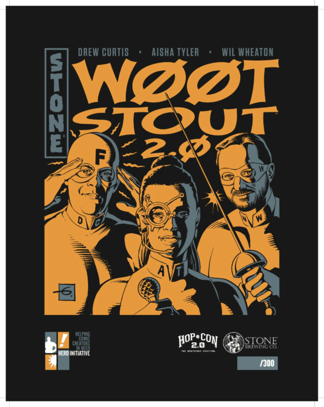 DAVE GIBBONS autographed W00tstout Stone Brewing print, limited to 300!