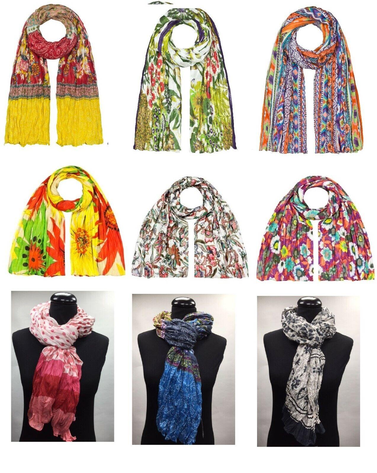 Damen Schal Halstuch Stola Neu modern klassisch Tuch 100% Baumwolle Crashoptik
