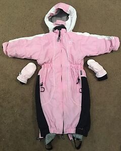 Size 1-2 years pink girls Ok Co snow suit ski suit & gloves Hurstville Grove Kogarah Area Preview