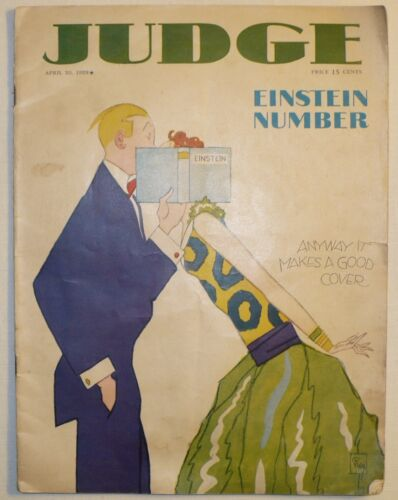 RARE ANTIQUE 1929 JUDGE ADVERTISING MAGAZINE MAKING FUN OF ALBERT EINSTEIN !!!