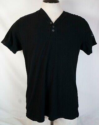 AFFLICTION Men's Short Sleeve Standard Series Henley Shirt M Black