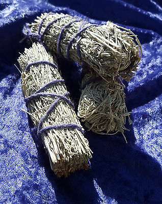 "Sage Smudge Stick 4"" Natural Cotton Bind Cleansing Desert Copal Lavender"