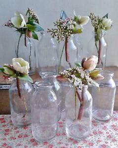 Bulk 10 x shabby chic vintage small milk bottle vases (not drinking) wedding