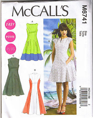 (Easy Color Block Fit Flared Princess Seam Dress Sewing Pattern Sz 8 10 12 14 16)