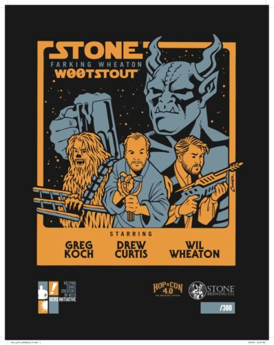 3-pack autographed W00tstout Stone Brewing prints 2014-2016, limited to 300!