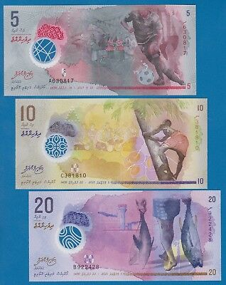 Maldives 3 Notes 5   10   20  P New Polymer 2015  2016  2017 Unc Low Shipping