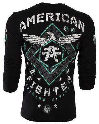 American Fighter Mens Ls T Shirt Abraham Eagle Reflective Ink Biker Gym Ufc  54