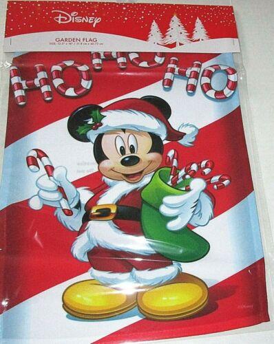 "DISNEY CHRISTMAS GARDEN FLAG 12.5""x 18""  HO HO HO /MICKEY MOUSE DRESSED AS SANTA"