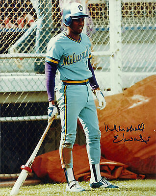 Brewers Marshall Edwards Signed 8X10 Photo  2 Auto 1982 World Series