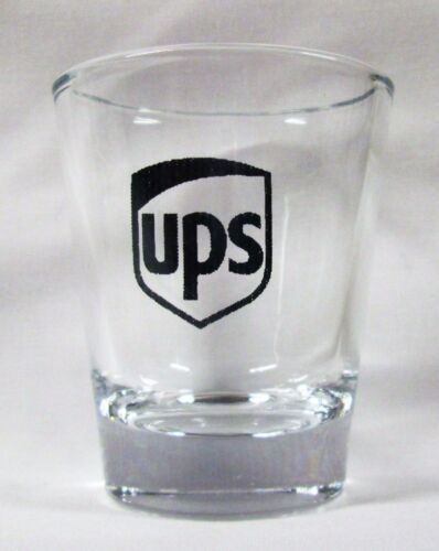 UPS United Parcel Service Logo on Clear Shot Glass
