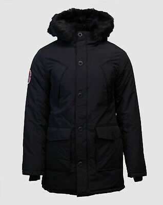 $299 Superdry Men's Black Hooded Full Zip Up Everest Winter Parka Jacket Size XL