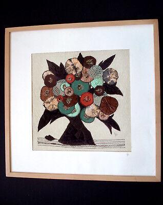 Collage Abstrakte Kunst Blumen Handarbeit Unikat 63x63 cm
