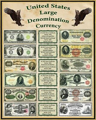 United States Large Denomination Currency 1800's 16