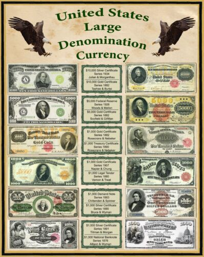 United States Large Denomination Currency 1800