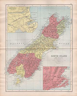 1875 ANTIQUE MAP - NEW ZEALAND SOUTH ISLAND INSET OF CHRISTCHURCH, DUNEDIN