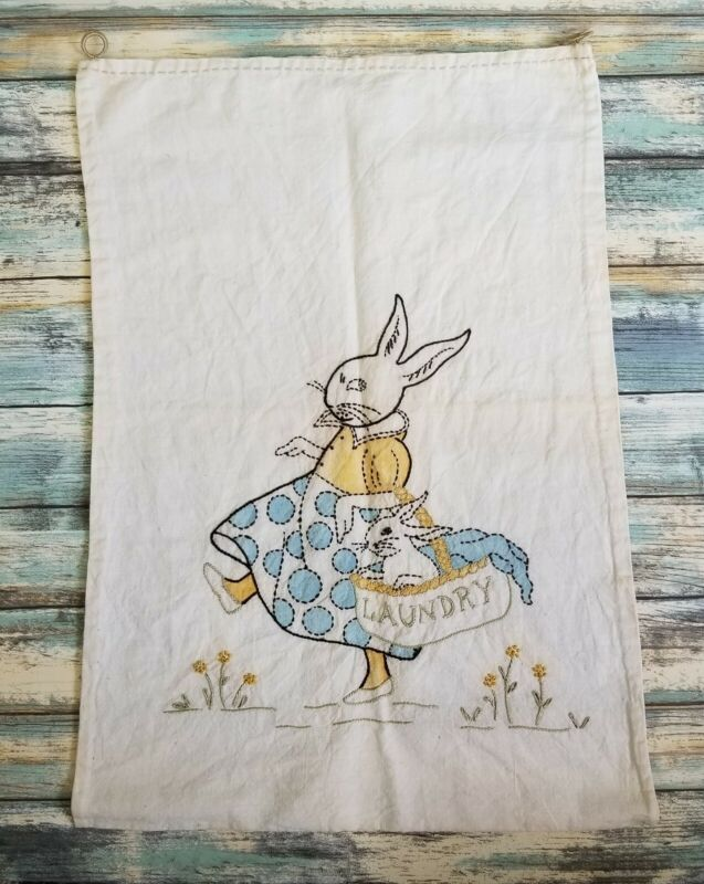 Vintage 1940s Linen Handmade Embroidered Laundry Bag Holder Bunny Rabbit