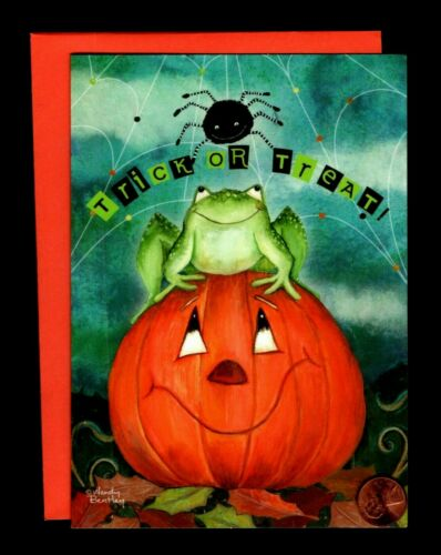Halloween Frog Smiling Spider Pumpkin Web Leaves - Greeting Card New W/ TRACKING