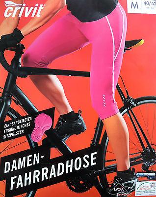 Damen Capri Fahrradhose Radhose Sitzpolster S M L 3/4 Sitzpolster Bikehose  NEU