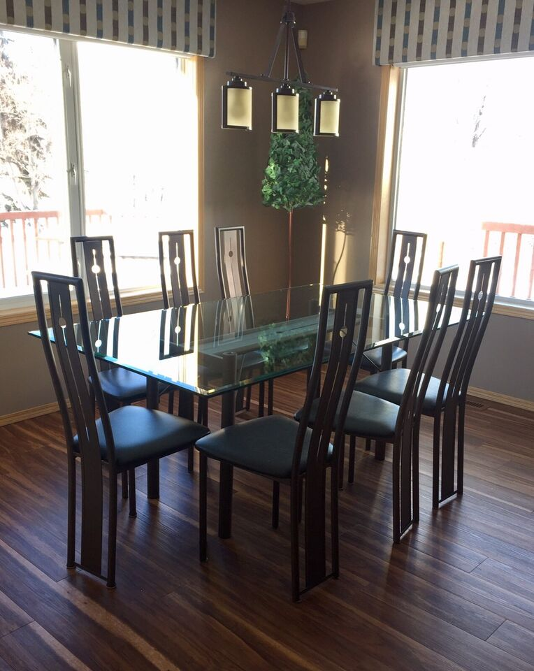 d5ccbe4dff1f MODERN HAMMERED METAL AND GLASS DINING ROOM SET - 10 CHAIRS