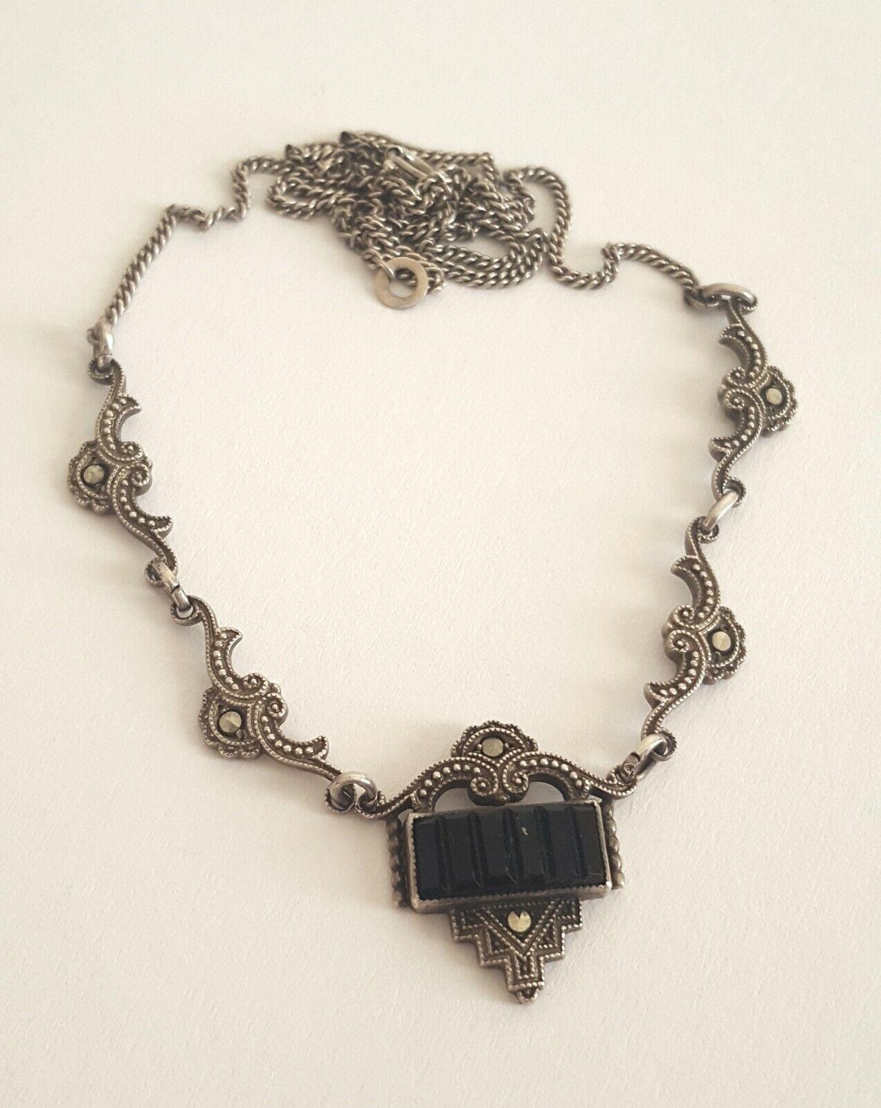 Art Deco Halskette 835er Silber Markasit und Onyx Friedrich Binder Pforzheim