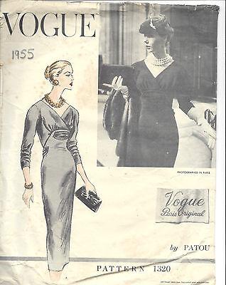 1955 Vintage VOGUE Sewing Pattern DRESS B34 (1475) By 'Patou'