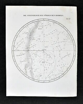 1872 Muller Map North Sky Constellations Star Chart Polaris Cassiopeia Astronomy